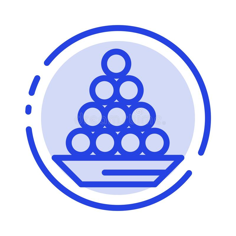 Το κύπελλο, λιχουδιά, επιδόρπιο, Ινδός, Laddu, γλυκό, μεταχειρίζεται το μπλε εικονίδιο γραμμών διαστιγμένων γραμμών απεικόνιση αποθεμάτων