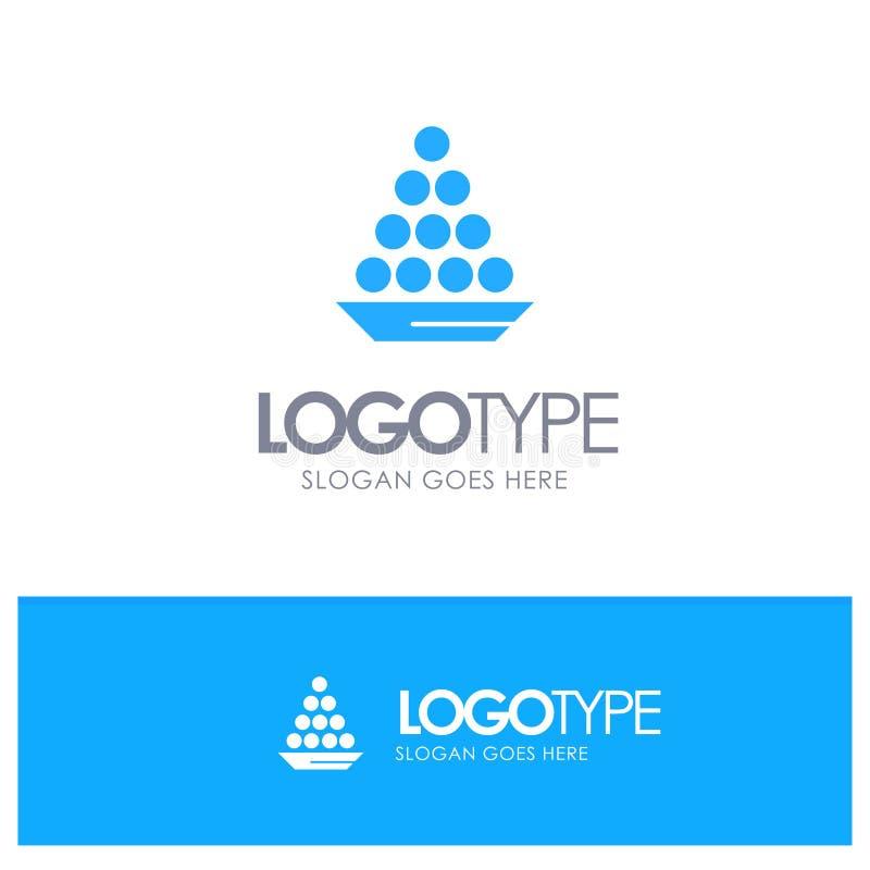 Το κύπελλο, λιχουδιά, επιδόρπιο, Ινδός, Laddu, γλυκό, μεταχειρίζεται το μπλε στερεό λογότυπο με τη θέση για το tagline διανυσματική απεικόνιση