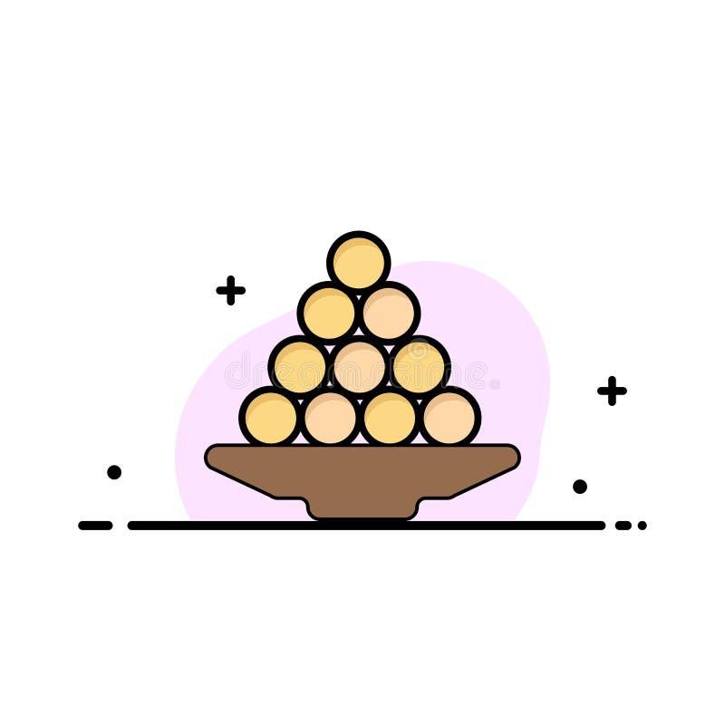 Το κύπελλο, λιχουδιά, επιδόρπιο, Ινδός, Laddu, γλυκό, μεταχειρίζεται πρότυπο εμβλημάτων επιχειρησιακών το επίπεδο γεμισμένο γραμμ ελεύθερη απεικόνιση δικαιώματος