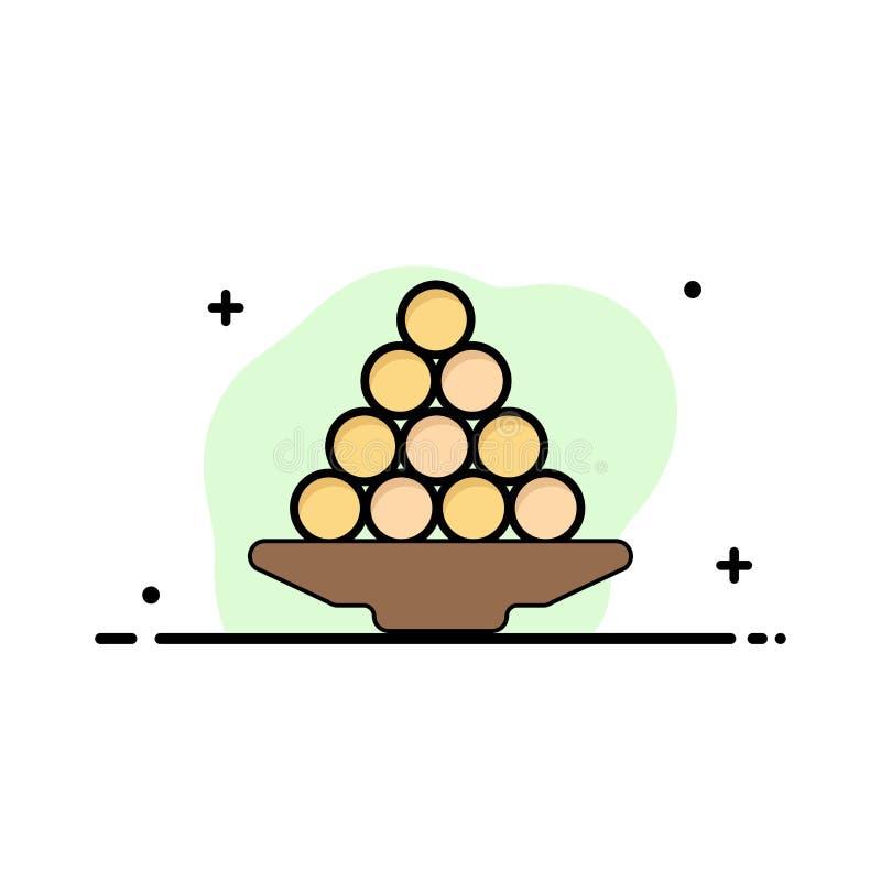 Το κύπελλο, λιχουδιά, επιδόρπιο, Ινδός, Laddu, γλυκό, μεταχειρίζεται το πρότυπο επιχειρησιακών λογότυπων Επίπεδο χρώμα απεικόνιση αποθεμάτων