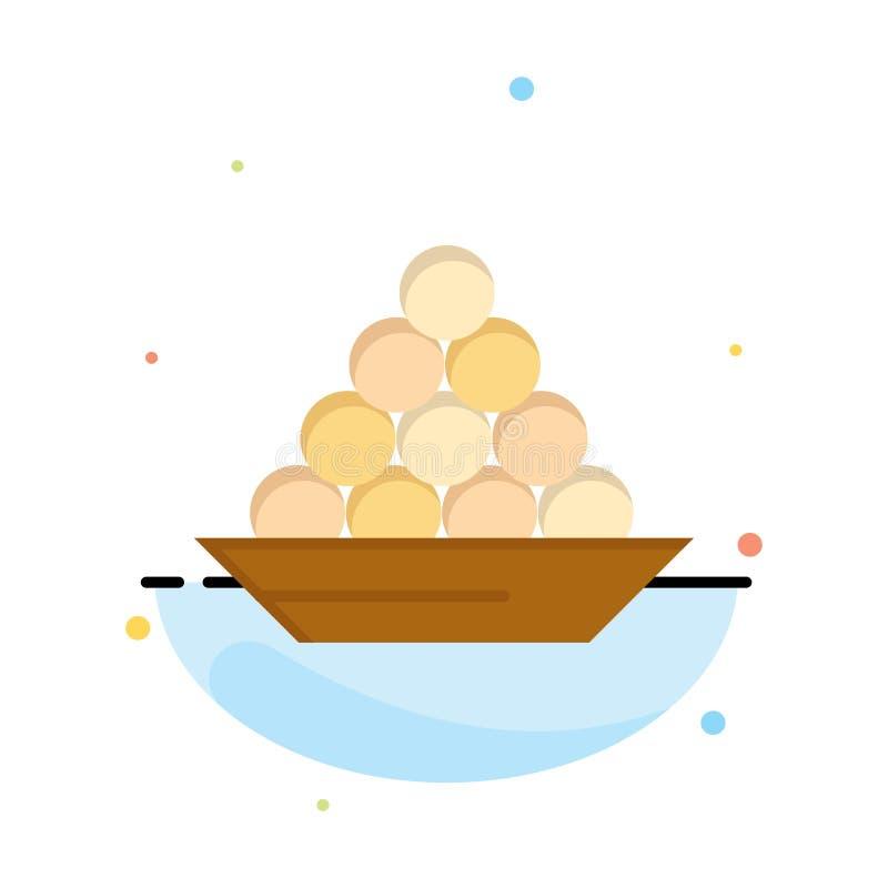 Το κύπελλο, λιχουδιά, επιδόρπιο, Ινδός, Laddu, γλυκό, μεταχειρίζεται το πρότυπο επιχειρησιακών λογότυπων Επίπεδο χρώμα διανυσματική απεικόνιση