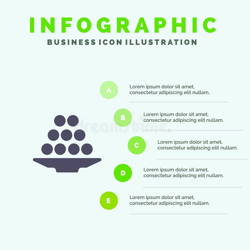 Το κύπελλο, λιχουδιά, επιδόρπιο, Ινδός, Laddu, γλυκό, μεταχειρίζεται το στερεό εικονίδιο Infographics 5 υπόβαθρο παρουσίασης βημά ελεύθερη απεικόνιση δικαιώματος