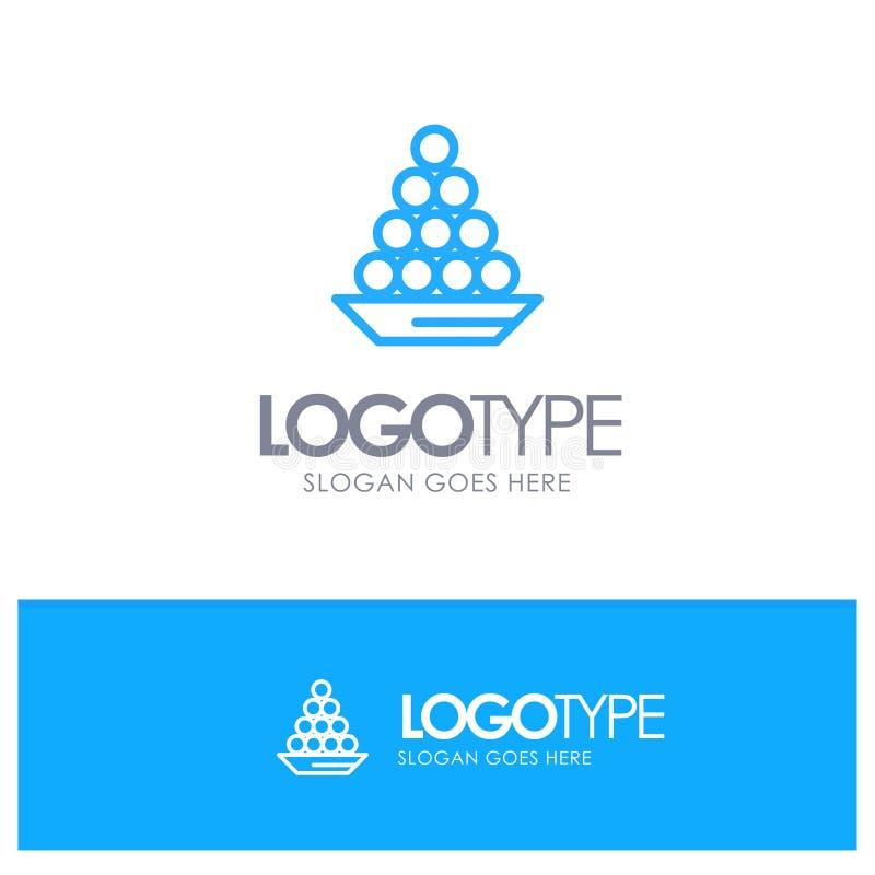 Το κύπελλο, λιχουδιά, επιδόρπιο, Ινδός, Laddu, γλυκό, μεταχειρίζεται την μπλε θέση λογότυπων περιλήψεων για Tagline απεικόνιση αποθεμάτων