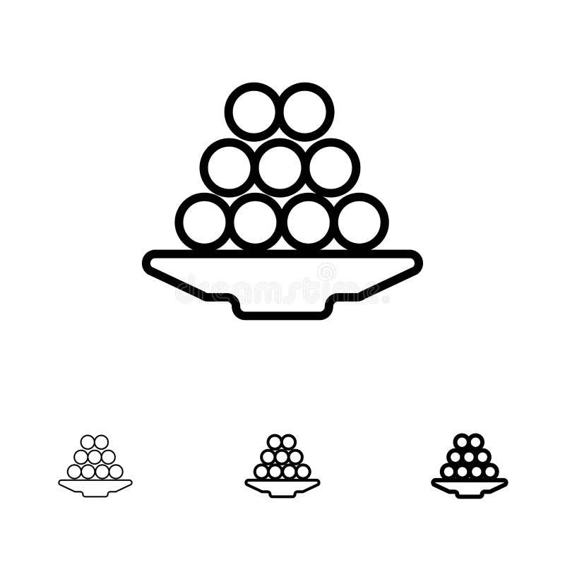 Το κύπελλο, λιχουδιά, επιδόρπιο, Ινδός, Laddu, γλυκό, μεταχειρίζεται το τολμηρό και λεπτό μαύρο σύνολο εικονιδίων γραμμών ελεύθερη απεικόνιση δικαιώματος