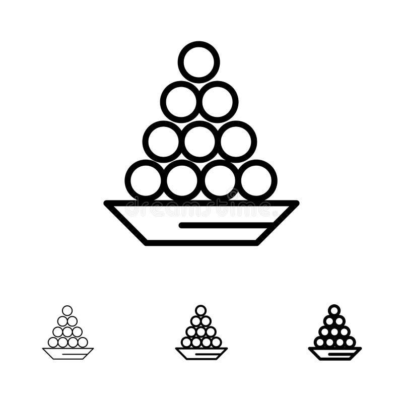 Το κύπελλο, λιχουδιά, επιδόρπιο, Ινδός, Laddu, γλυκό, μεταχειρίζεται το τολμηρό και λεπτό μαύρο σύνολο εικονιδίων γραμμών απεικόνιση αποθεμάτων