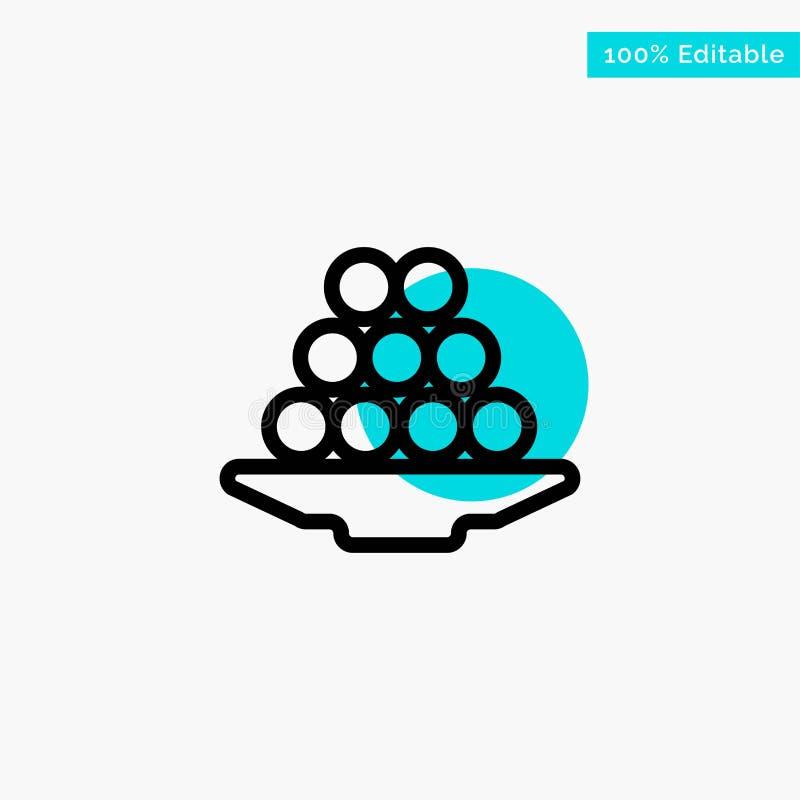 Το κύπελλο, λιχουδιά, επιδόρπιο, Ινδός, Laddu, γλυκό, μεταχειρίζεται το τυρκουάζ διανυσματικό εικονίδιο σημείου κυριώτερων κύκλων διανυσματική απεικόνιση