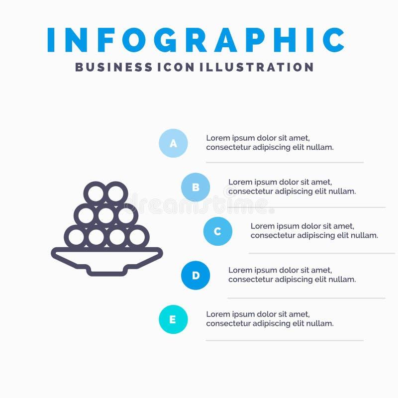 Το κύπελλο, λιχουδιά, επιδόρπιο, Ινδός, Laddu, γλυκό, μεταχειρίζεται το εικονίδιο γραμμών με το υπόβαθρο infographics παρουσίασης απεικόνιση αποθεμάτων