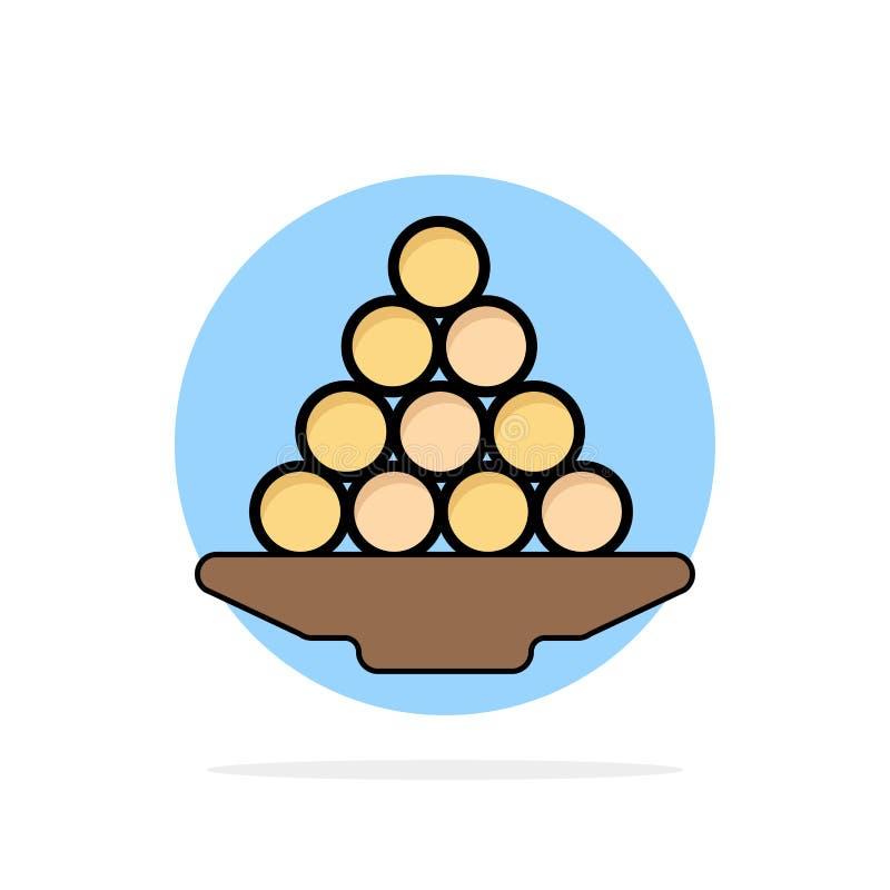 Το κύπελλο, λιχουδιά, επιδόρπιο, Ινδός, Laddu, γλυκό, μεταχειρίζεται το αφηρημένο κύκλων εικονίδιο χρώματος υποβάθρου επίπεδο ελεύθερη απεικόνιση δικαιώματος