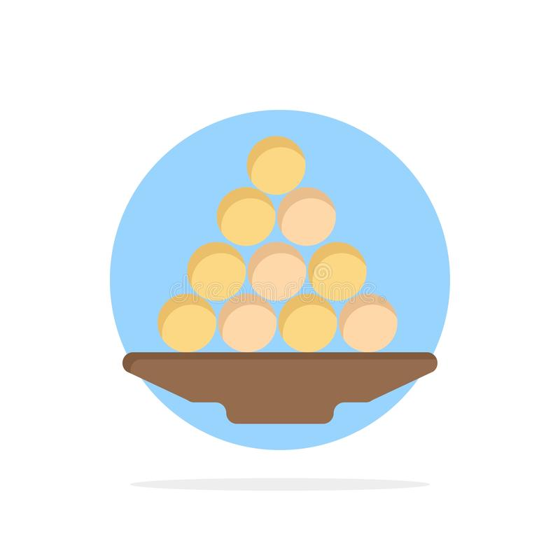 Το κύπελλο, λιχουδιά, επιδόρπιο, Ινδός, Laddu, γλυκό, μεταχειρίζεται το αφηρημένο κύκλων εικονίδιο χρώματος υποβάθρου επίπεδο απεικόνιση αποθεμάτων