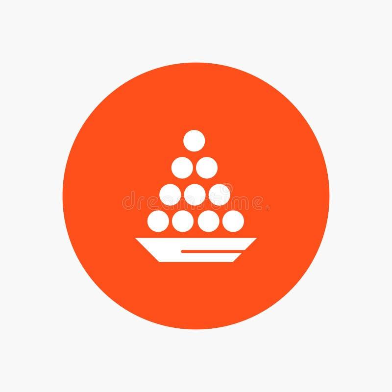Το κύπελλο, λιχουδιά, επιδόρπιο, Ινδός, Laddu, γλυκό, μεταχειρίζεται διανυσματική απεικόνιση