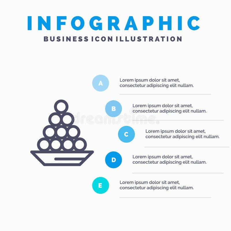 Το κύπελλο, λιχουδιά, επιδόρπιο, Ινδός, Laddu, γλυκό, μεταχειρίζεται το εικονίδιο γραμμών με το υπόβαθρο infographics παρουσίασης διανυσματική απεικόνιση