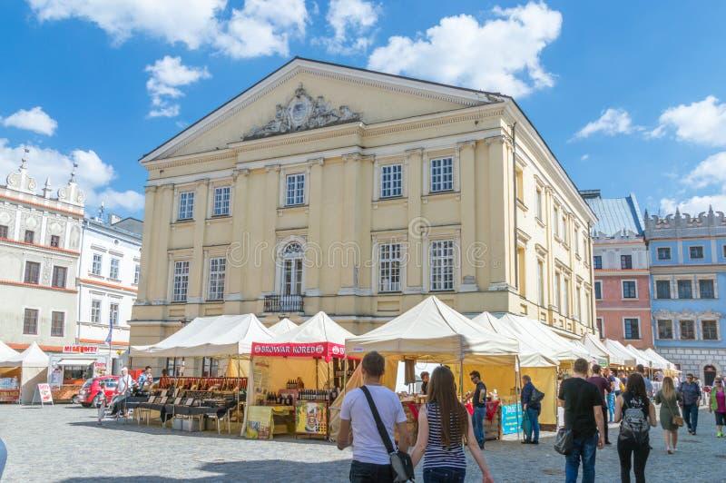 Το κύριο δικαστήριο στην παλαιά πόλη του Lublin στοκ εικόνα