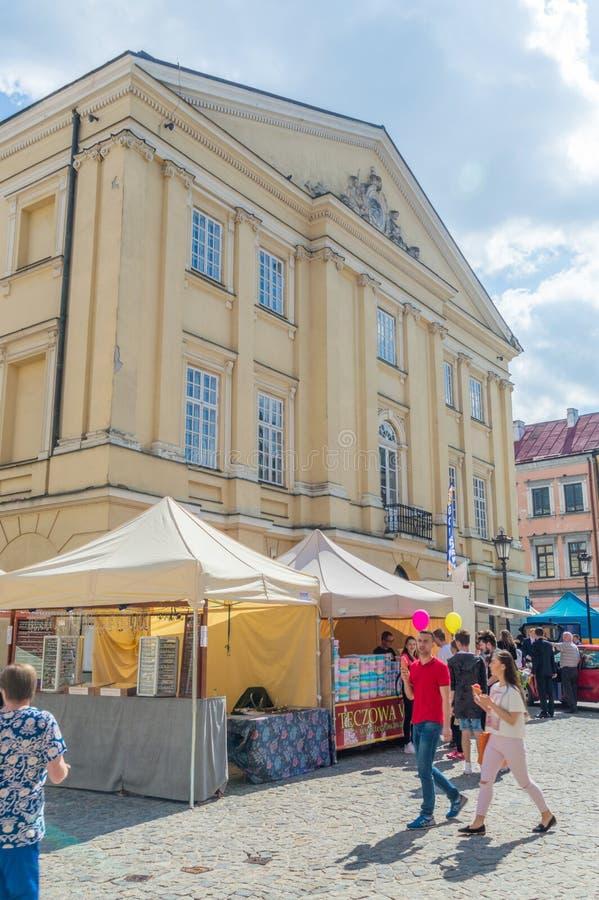 Το κύριο δικαστήριο στην παλαιά πόλη του Lublin στοκ εικόνες