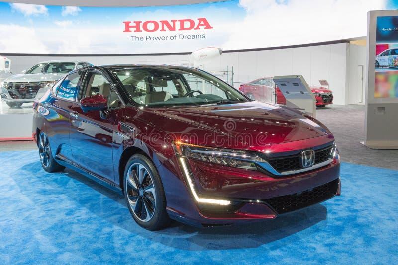 Το κύτταρο καυσίμου σαφήνειας της Honda στην επίδειξη κατά τη διάρκεια του Λα αυτόματου παρουσιάζει στοκ εικόνες με δικαίωμα ελεύθερης χρήσης