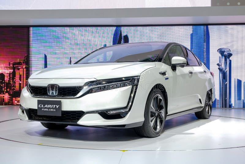 Το κύτταρο καυσίμου ΣΑΦΗΝΕΙΑΣ της Honda, electrick αυτοκίνητο παρουσιάζει στην επίδειξη στη διεθνή έκθεση αυτοκινήτου το 2018 της στοκ φωτογραφίες