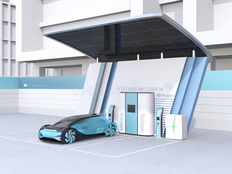 Το κύτταρο καυσίμου τροφοδότησε το αυτόνομο γεμίζοντας αέριο αυτοκινήτων στο υδρογόνο κυττάρων καυσίμου ελεύθερη απεικόνιση δικαιώματος