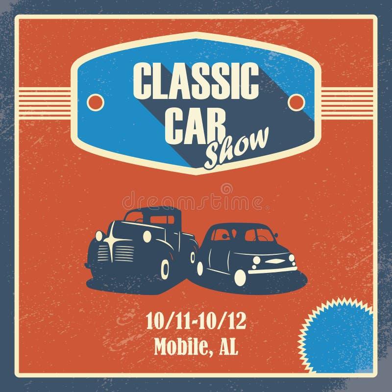 Το κλασικό αυτοκίνητο παρουσιάζει αφίσα Παλαιό αναδρομικό αυτοκίνητο διανυσματική απεικόνιση