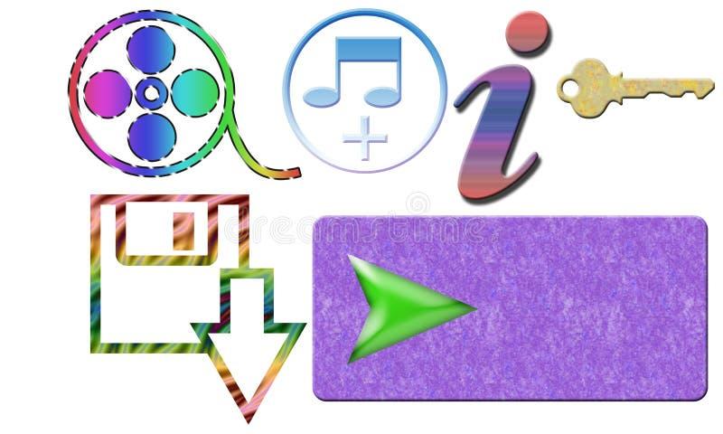 Το κλειδί πληροφοριών μουσικής κινηματογράφων μεταφορτώνει το κουμπί με το άσπρο υπόβαθρο ελεύθερη απεικόνιση δικαιώματος
