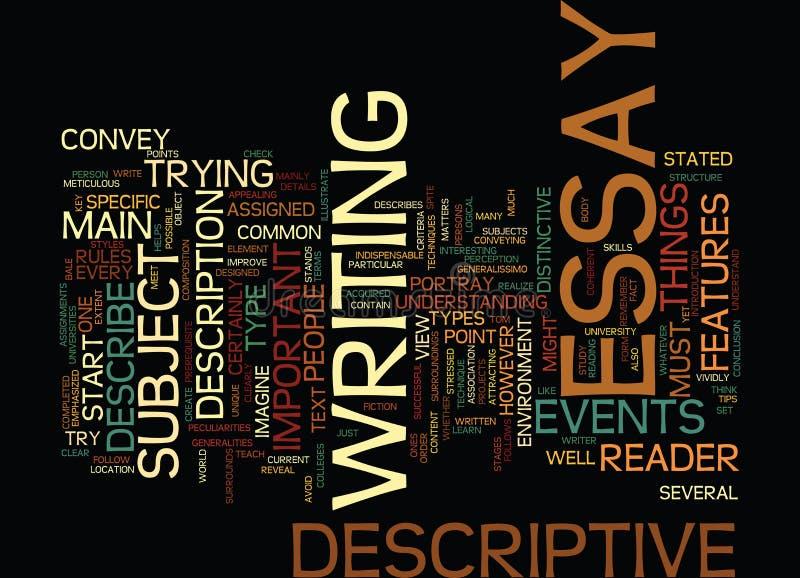 Το κλειδί της επιτυχούς περιγραφικής έννοιας σύννεφων του Word υποβάθρου κειμένων δοκίμιου απεικόνιση αποθεμάτων