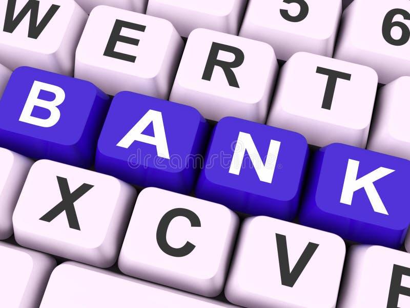 Το κλειδί τράπεζας παρουσιάζει σε απευθείας σύνδεση ή ηλεκτρονικές τραπεζικές εργασίες στοκ εικόνες με δικαίωμα ελεύθερης χρήσης