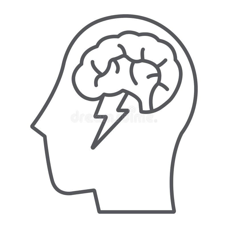 Το λεπτό εικονίδιο, δημιουργικός και η ιδέα, ο εγκέφαλος και η βροντή γραμμών καταιγισμού ιδεών υπογράφουν, διανυσματική γραφική  απεικόνιση αποθεμάτων