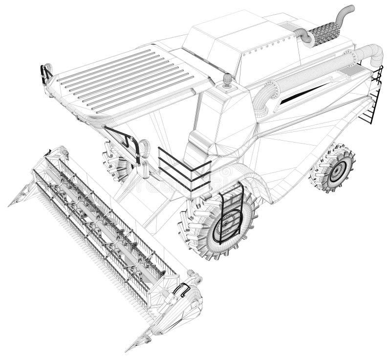 Το λεπτό περιγραμμένο, λεπτομερές τρισδιάστατο πρότυπο του αγροκτήματος γεωργικό συνδυάζει τη θεριστική μηχανή που απομονώνεται σ απεικόνιση αποθεμάτων