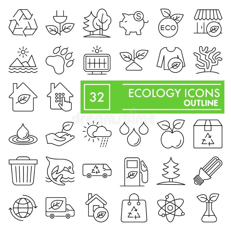 Το λεπτό σύνολο εικονιδίων γραμμών οικολογίας, συλλογή συμβόλων περιβάλλοντος, διανυσματικά σκίτσα, απεικονίσεις λογότυπων, φύση  ελεύθερη απεικόνιση δικαιώματος