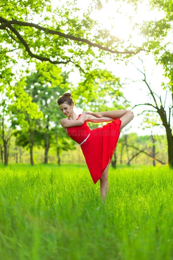 Το λεπτό όμορφο κορίτσι brunette σε ένα κόκκινο φόρεμα εκτελεί τη γιόγκα θέτει σε ένα θερινό πάρκο Πράσινο δάσος στο ηλιοβασίλεμα στοκ εικόνες με δικαίωμα ελεύθερης χρήσης