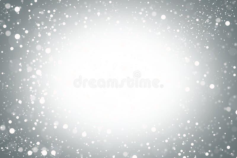 Το λευκό ακτινοβολεί bokeh και Χριστούγεννα σύστασης χιονιού στο γκρίζο υπόβαθρο ελεύθερη απεικόνιση δικαιώματος