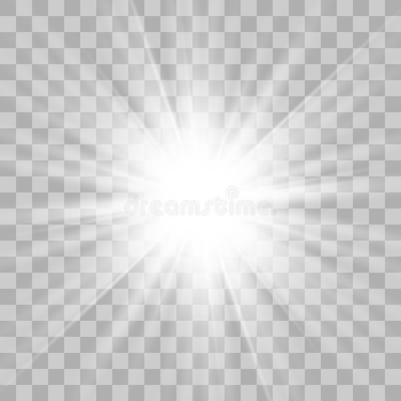 Το λευκό αστεριών εκρήγνυται στο διαφανές υπόβαθρο απεικόνιση αποθεμάτων