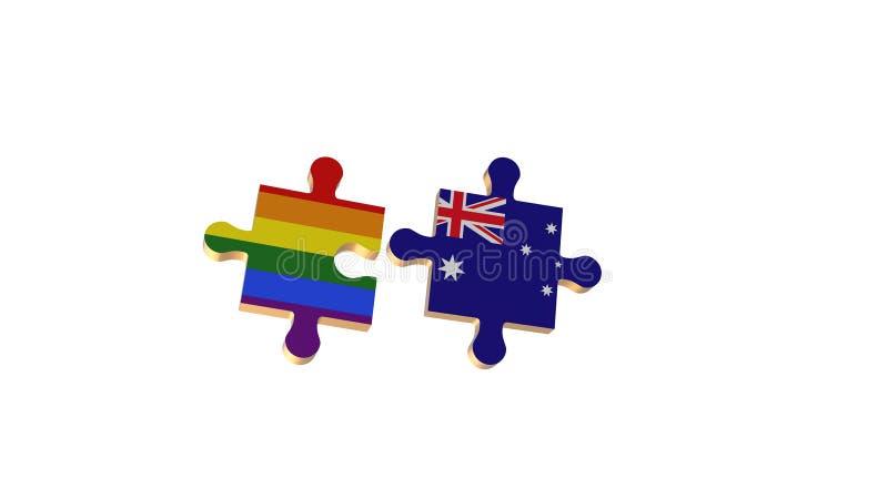 Το λευκό για έβαλε το γρίφο στη σημαία LGBT και της Αυστραλίας διανυσματική απεικόνιση