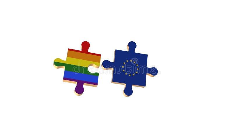 Το λευκό για έβαλε το γρίφο στη σημαία LGBT και της Ευρωπαϊκής Ένωσης διανυσματική απεικόνιση