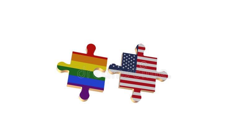 Το λευκό για έβαλε το γρίφο στη σημαία LGBT και των ΗΠΑ απεικόνιση αποθεμάτων