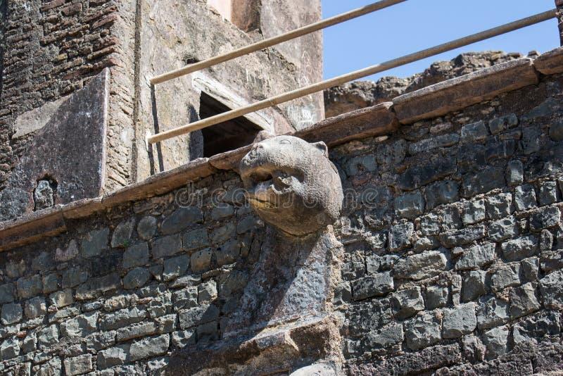 Το λιοντάρι αντιμετώπισε την έξοδο νερού στη στέγη του ιστορικού κτηρίου στοκ φωτογραφία με δικαίωμα ελεύθερης χρήσης