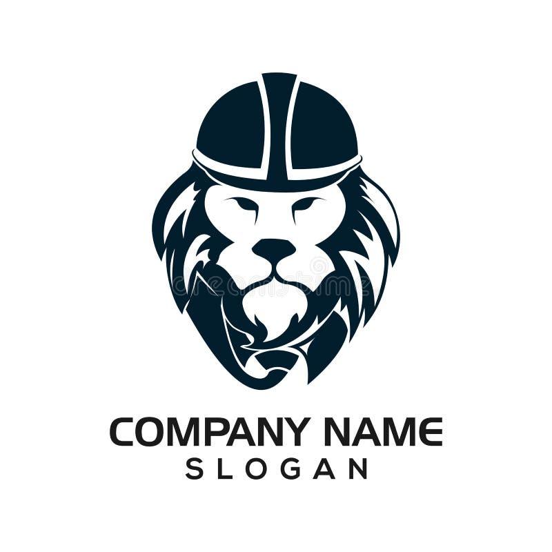 Το λιοντάρι αστικό, σχέδιο λιονταριών χρησιμοποιεί τα αστικά κράνη για να είναι ένα πρότυπο για τα λογότυπα εικονιδίων κατασκευής ελεύθερη απεικόνιση δικαιώματος