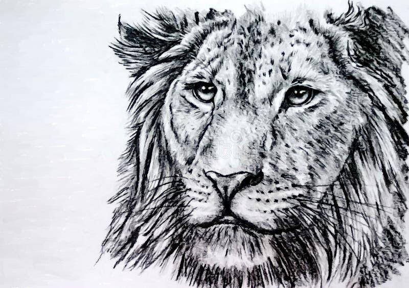 Το λιοντάρι είναι ο βασιλιάς των κτηνών Υγρό watercolor ζωγραφικής σε χαρτί Αφελής τέχνη αφηρημένη τέχνη Watercolor σχεδίων σε χα διανυσματική απεικόνιση