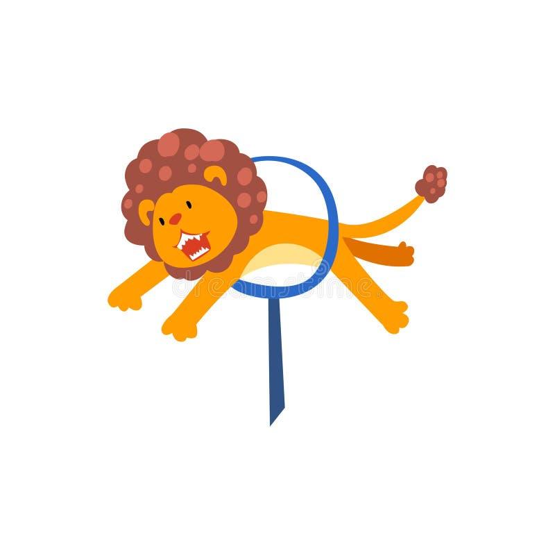 Το λιοντάρι που πηδά μέσω του δαχτυλιδιού, χαριτωμένο ζώο που αποδίδει στο τσίρκο παρουσιάζει στα κινούμενα σχέδια διανυσματική α ελεύθερη απεικόνιση δικαιώματος
