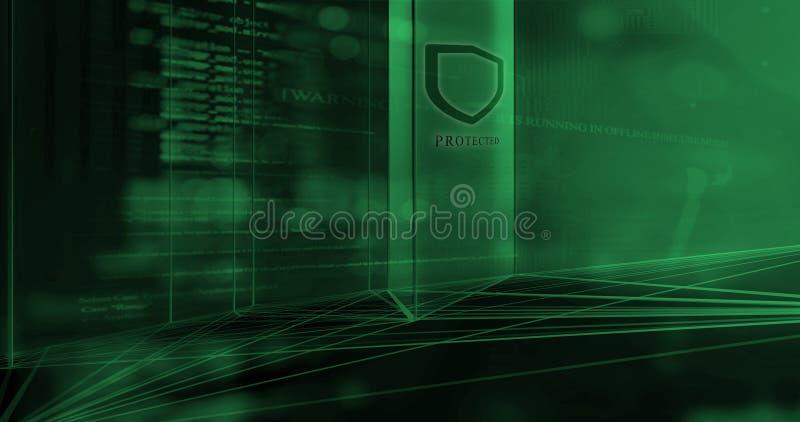 Το λογισμικό ασφάλειας προστατεύει το συγκρότημα ηλεκτρονικών υπολογιστών διανυσματική απεικόνιση