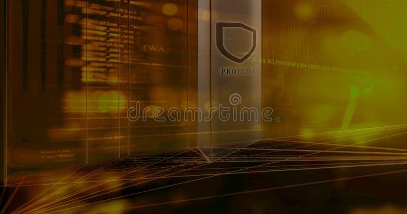 Το λογισμικό ασφάλειας προστατεύει το συγκρότημα ηλεκτρονικών υπολογιστών ελεύθερη απεικόνιση δικαιώματος
