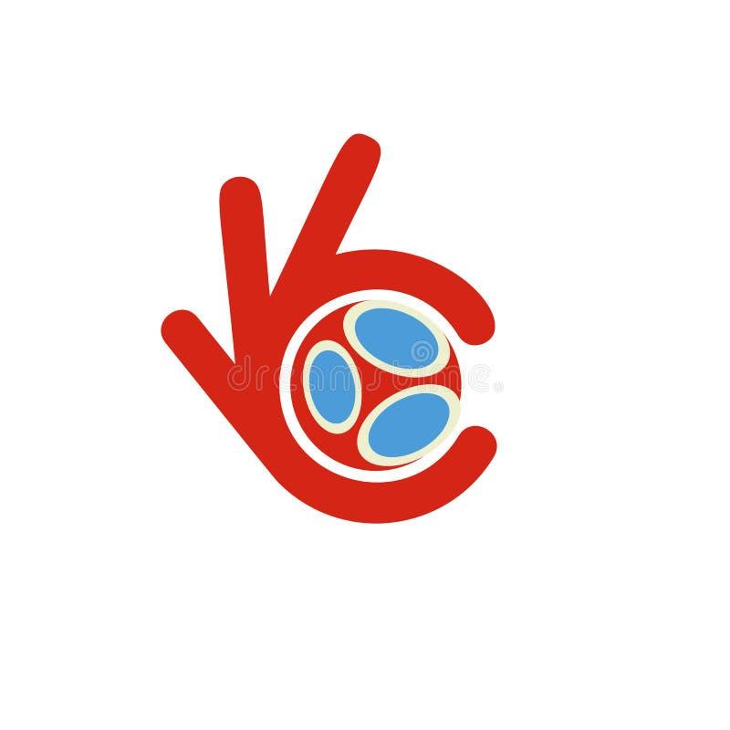 Το λογότυπο ένωσης ποδοσφαίρου, σήμα ποδοσφαίρου συμφωνίας, καλύτερο κόκκινο διανυσματικό εικονίδιο αθλητικής επιλογής, δάχτυλα π απεικόνιση αποθεμάτων