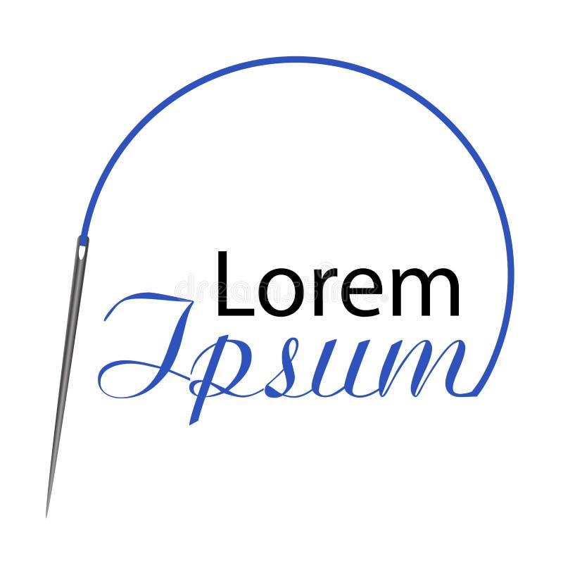 Το λογότυπο είναι μια βελόνα και το μπλε νήμα δημιουργεί έναν κύκλο διάνυσμα διανυσματική απεικόνιση