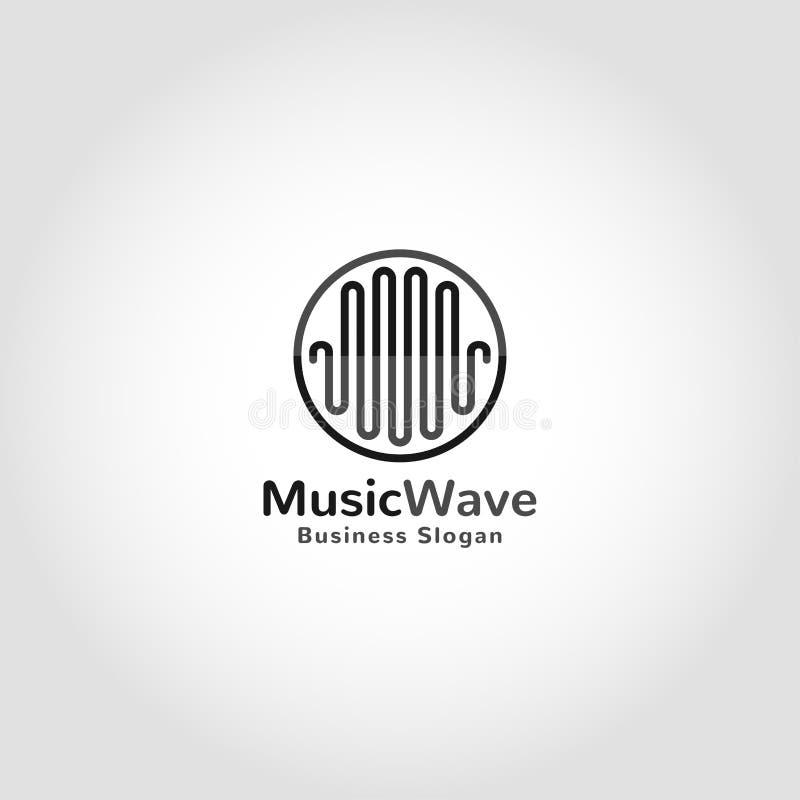 Το λογότυπο κυμάτων μουσικής είναι ένα λογότυπο στούντιο μουσικής με την έννοια και τον κύκλο τέχνης γραμμών ελεύθερη απεικόνιση δικαιώματος
