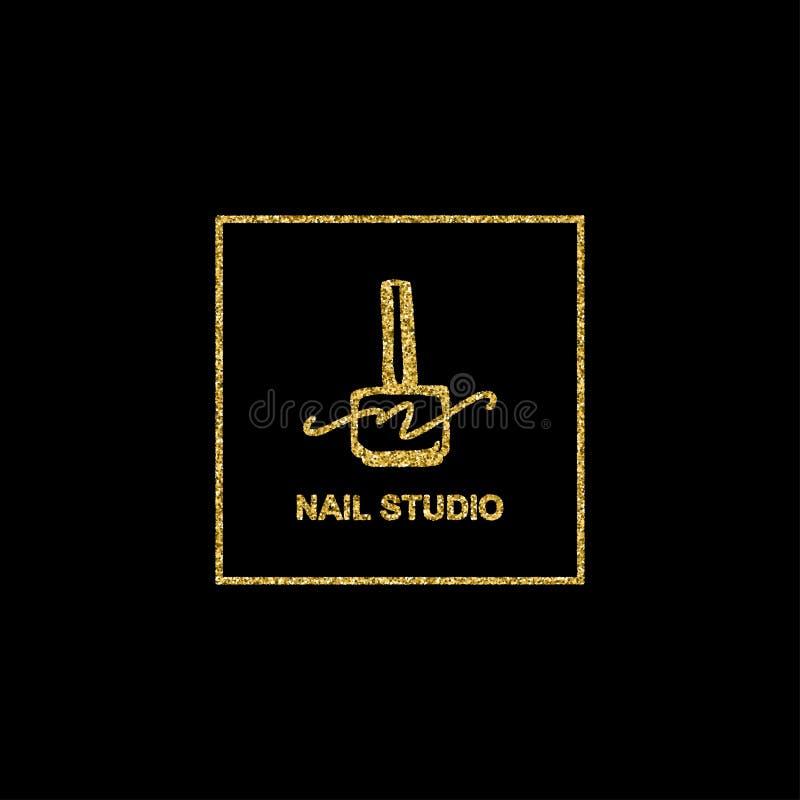 Το λογότυπο στιλβωτικής ουσίας καρφιών με χρυσό ακτινοβολεί σύσταση σε ένα καθιερώνον τη μόδα μινιμαλιστικό γραμμικό ύφος ελεύθερη απεικόνιση δικαιώματος