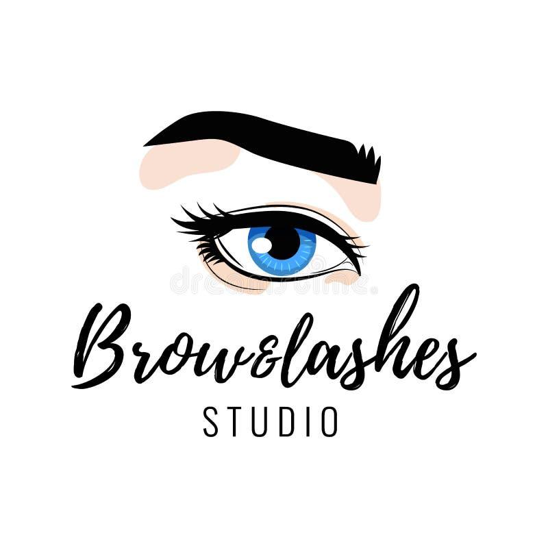 Το λογότυπο φρυδιών και eyelashes στούντιο, όμορφο τέλειο μάτι makeup σχεδιάζει, μακροχρόνια μαύρα μαστίγια, διάνυσμα ελεύθερη απεικόνιση δικαιώματος