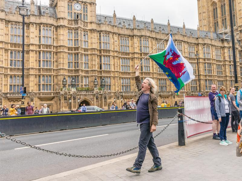 Το Λονδίνο/το UK - 26 Ιουνίου 2019 - διαμαρτυρόμενος υπέρ-ΕΕ φέρνει τις σημαίες της Ουαλίας και της Ευρωπαϊκής Ένωσης έξω από το  στοκ εικόνα