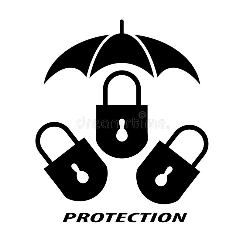 Το λουκέτο συμβολίζει την προστασία ελεύθερη απεικόνιση δικαιώματος