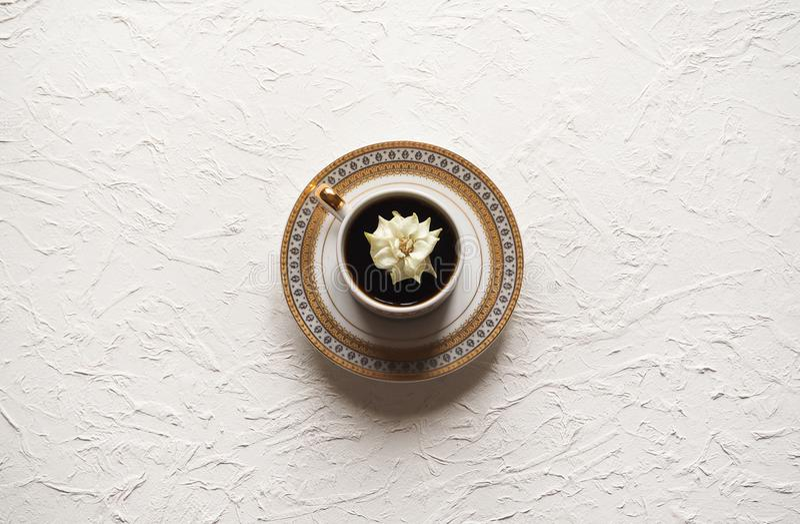 Το λουλούδι στο φλυτζάνι Λίγο άσπρος αυξήθηκε σε ένα φλυτζάνι του μαύρου καφέ στον άσπρο πίνακα στοκ φωτογραφία