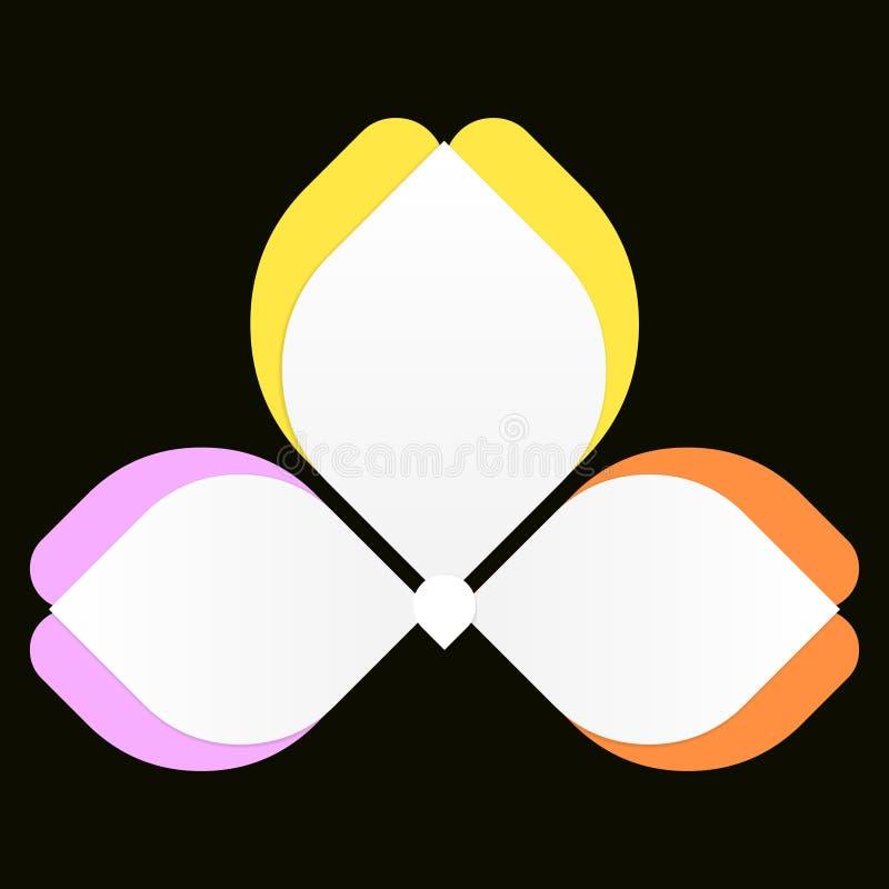 Το λουλούδι Infographics, η πεταλούδα ζωηρόχρωμη, η επιλογή 3 ή τα βήματα επεξεργάζονται το διάγραμμα, ιδανικό για την εταιρική ε απεικόνιση αποθεμάτων