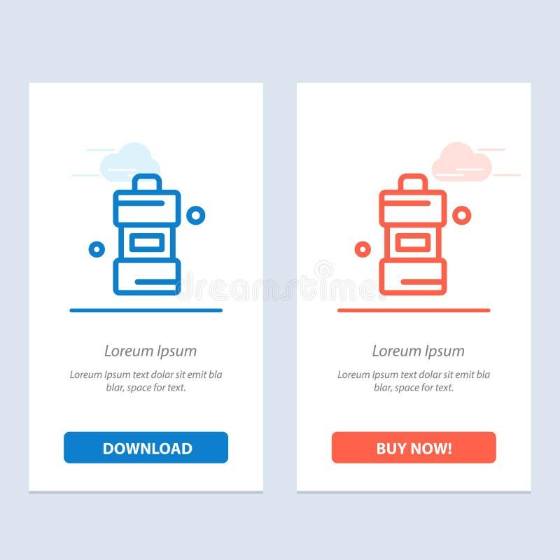 Το λουτρό, ο καθαριστής, καθαρίζοντας, καθαριστικοί μπλε και το κόκκινο μεταφορτώνουν και αγοράζουν τώρα το πρότυπο καρτών Widget απεικόνιση αποθεμάτων
