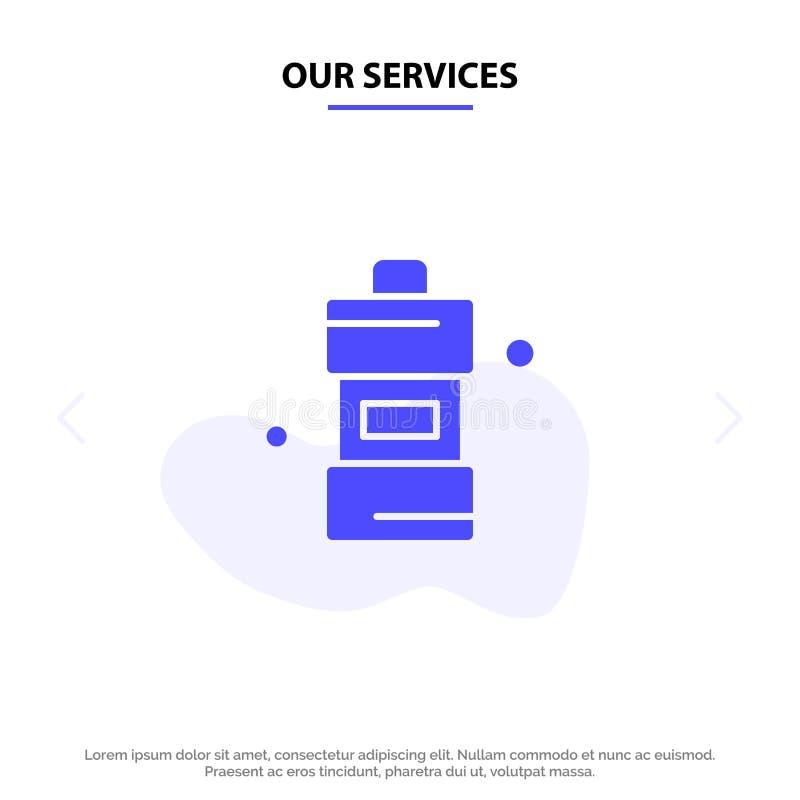 Το λουτρό υπηρεσιών μας, καθαριστής, καθαρισμός, καθαριστικό στερεό πρότυπο καρτών Ιστού εικονιδίων Glyph απεικόνιση αποθεμάτων